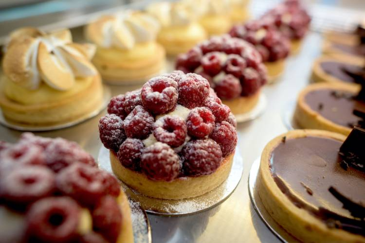 line of delicious pastries